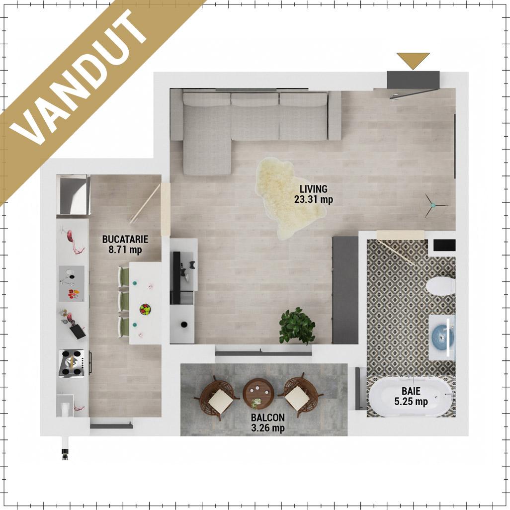 Garsoniera de vanzare Bucuresti - Uverturii Residence - Militari - Lujerului - Gorjului - Tip 4 - T2 - EV